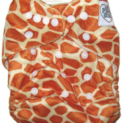 Giraffe Print One Size Bamboo Cloth Diaper