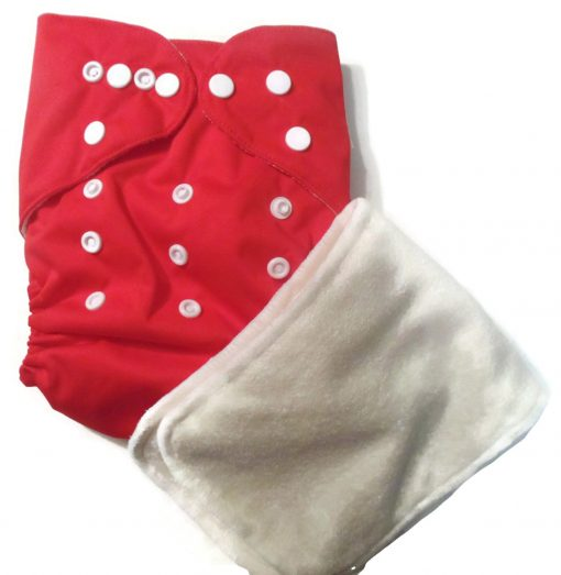 Cherry Red One Size Bamboo Cloth Diaper