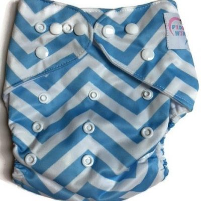 Blue Chevron One Size Bamboo Cloth Diaper