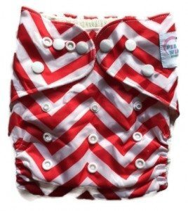 Piddly-Winx Red Chevron One Size Pocket Cloth Diaper