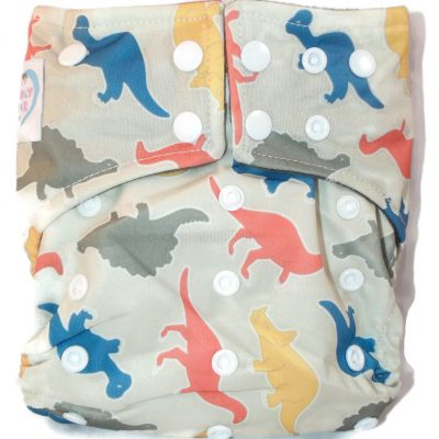 Dandy Dinos Hybrid Charcoal Bamboo Cloth Diaper