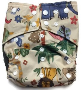 Jungle Friends Hybrid Charcoal Bamboo Cloth Diaper