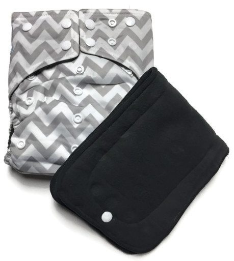 Greying Zags Hybrid Charcoal Bamboo Cloth Diaper