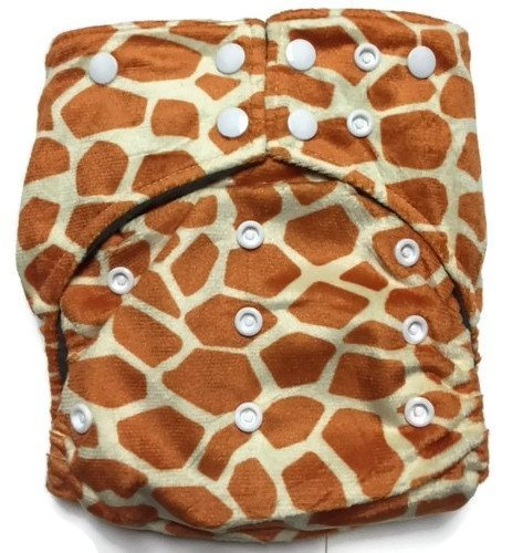 Giraffe Print Hybrid Charcoal Bamboo Cloth Diaper