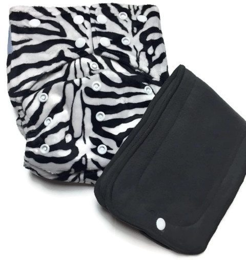 Zebra Print Hybrid Charcoal Bamboo Cloth Diaper