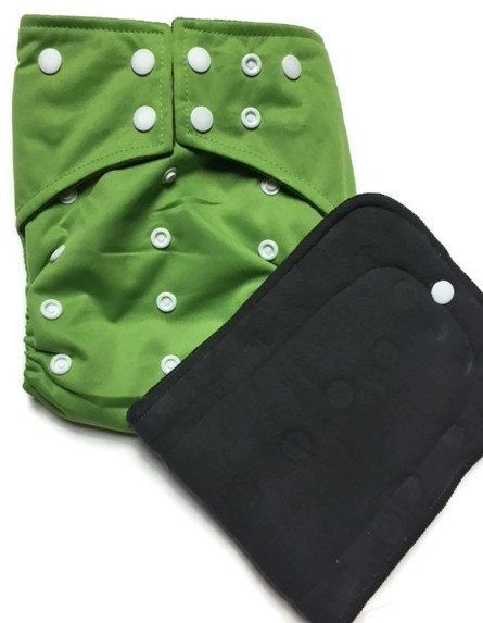 Apple Green Hybrid Charcoal Bamboo Cloth Diaper