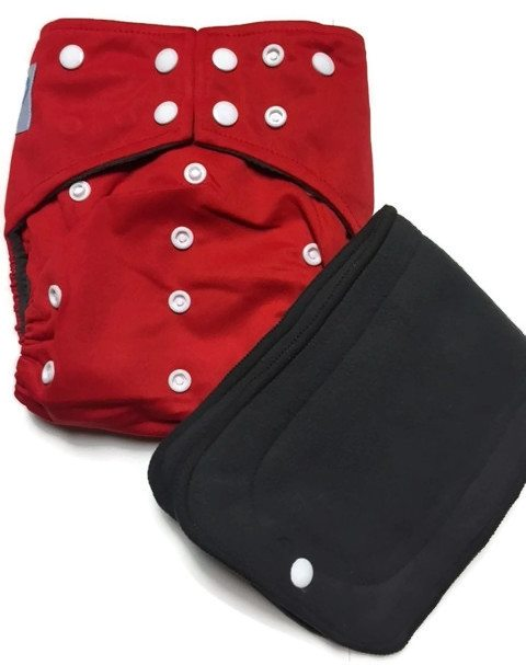 Cherry Red Hybrid Charcoal Bamboo Cloth Diaper