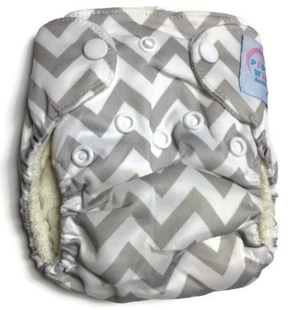Greying Zags Newborn Bamboo Cloth Diaper