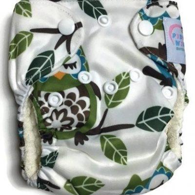 Goodnight Owl Newborn Bamboo Cloth Diaper