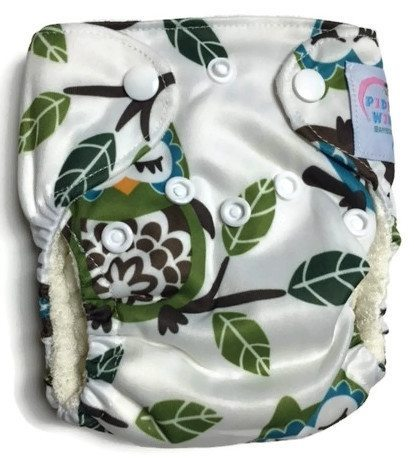 Goodnight Owl Newborn Bamboo Cloth Diaper