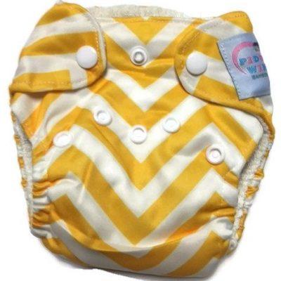 Yellow Chevron Newborn Bamboo Cloth Diaper