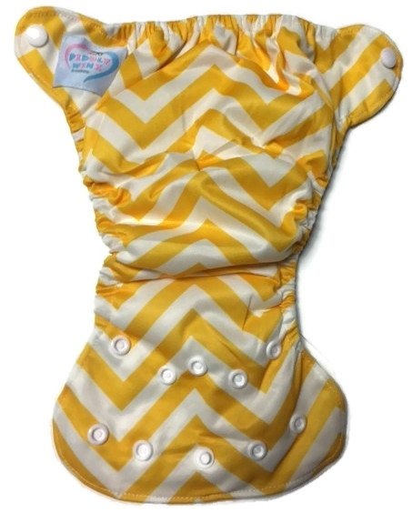 Yellow Chevron Newborn Bamboo Cloth Diaper