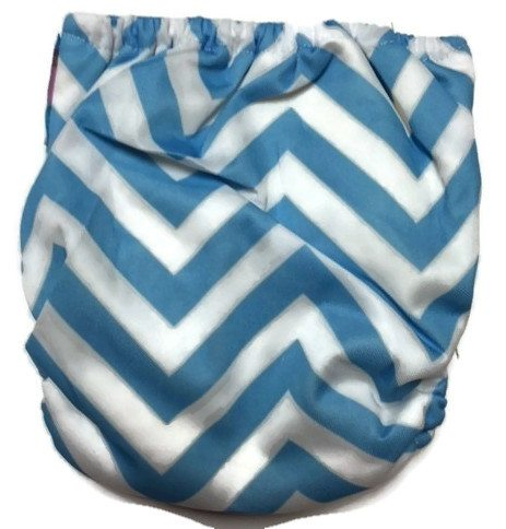 Blue Chevron Newborn Bamboo Cloth Diaper