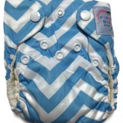 Blue Chevron Newborn Bamboo Cloth Diaper
