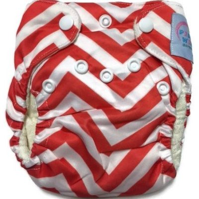 Red Chevron Newborn Bamboo Cloth Diaper