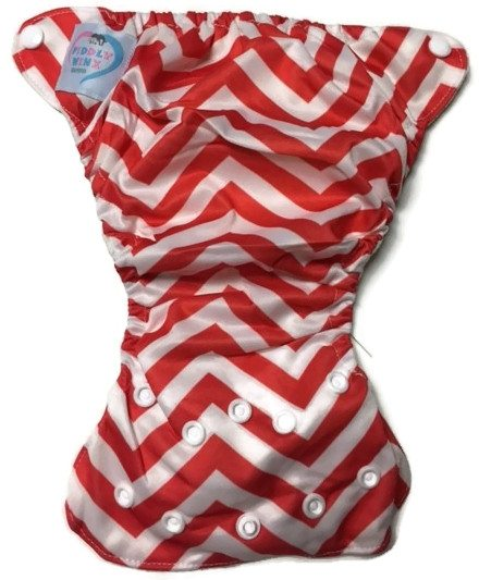 Red Chevron Newborn Bamboo Cloth Diaper