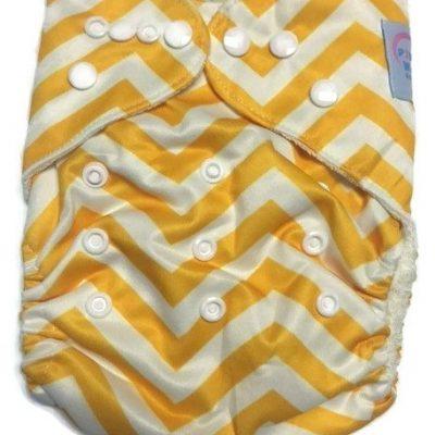 Yellow Chevron Bamboo One-Size Pocket Cloth Diaper
