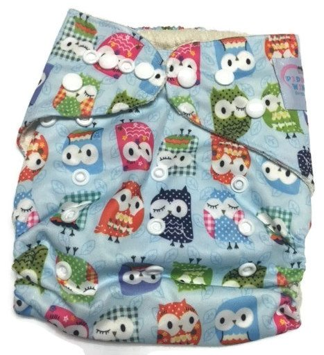 Owl We There Yet BLUE Bamboo One-Size Pocket Cloth Diaper