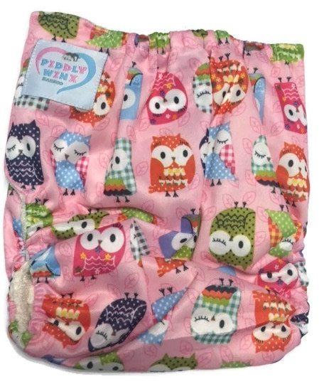 Owl We There Yet PINK Bamboo One-Size Pocket Cloth Diaper