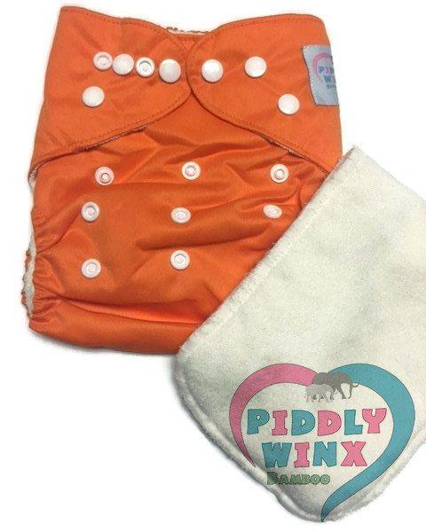 Pumpkin Orange Bamboo One-Size Pocket Cloth Diaper