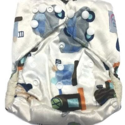 Trains, Planes, and Autos Bamboo One-Size Pocket Cloth Diaper