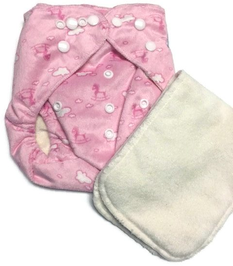 Pink Ponies Bamboo One-Size Pocket Cloth Diaper