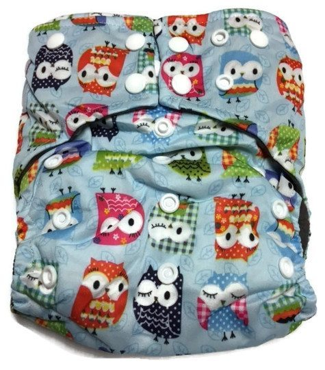 Owl We There Yet Hybrid Charcoal Bamboo Diaper