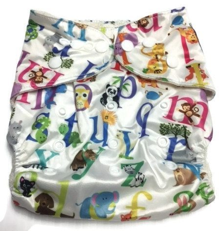 Animal Alphabet Bamboo One-Size Pocket Cloth Diaper