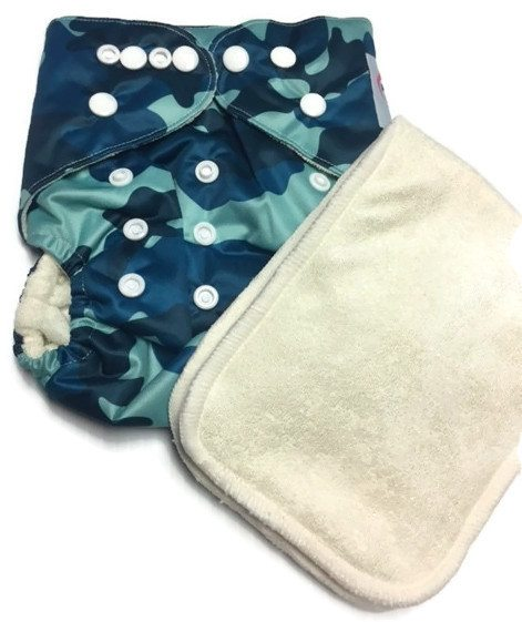 Navy Camouflage Bamboo One-Size Pocket Cloth Diaper