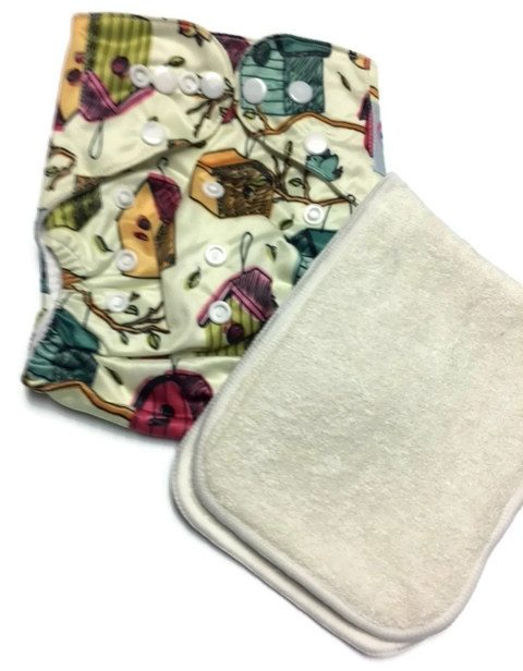 Bird Sanctuary Polyester One-Size Pocket Cloth Diaper