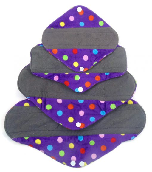 Polka Dot Pad Charcoal Bamboo Reusable Pads