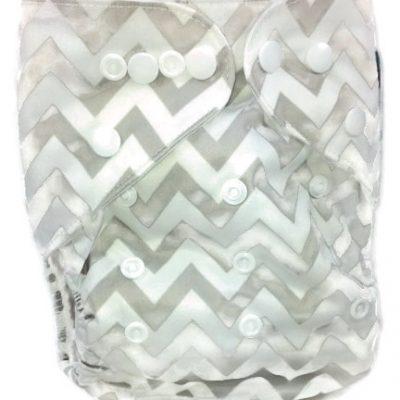 Grey Chevron Polyester Cloth Diaper