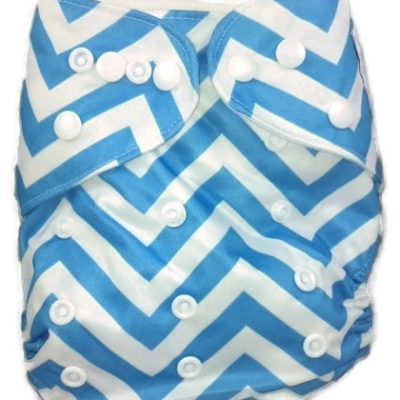 Blue Chevron Polyester Cloth Diaper