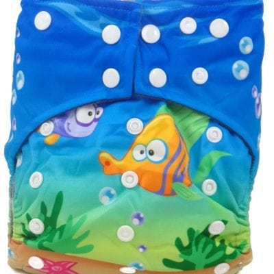 Underwater Fishies Hybrid Charcoal Bamboo Cloth Diaper