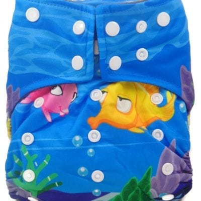 Under The Sea Hybrid Charcoal Bamboo Cloth Diaper